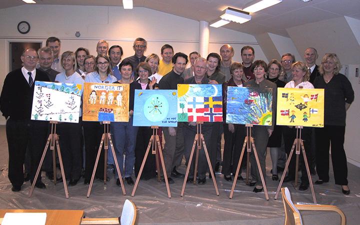Kollegor på konferens i Norra Stockholm